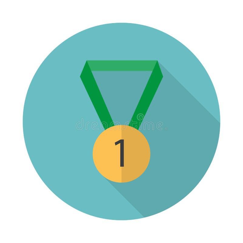 Icono del premio Icono de la medalla Estilo plano Ejemplo del vector con la sombra larga stock de ilustración