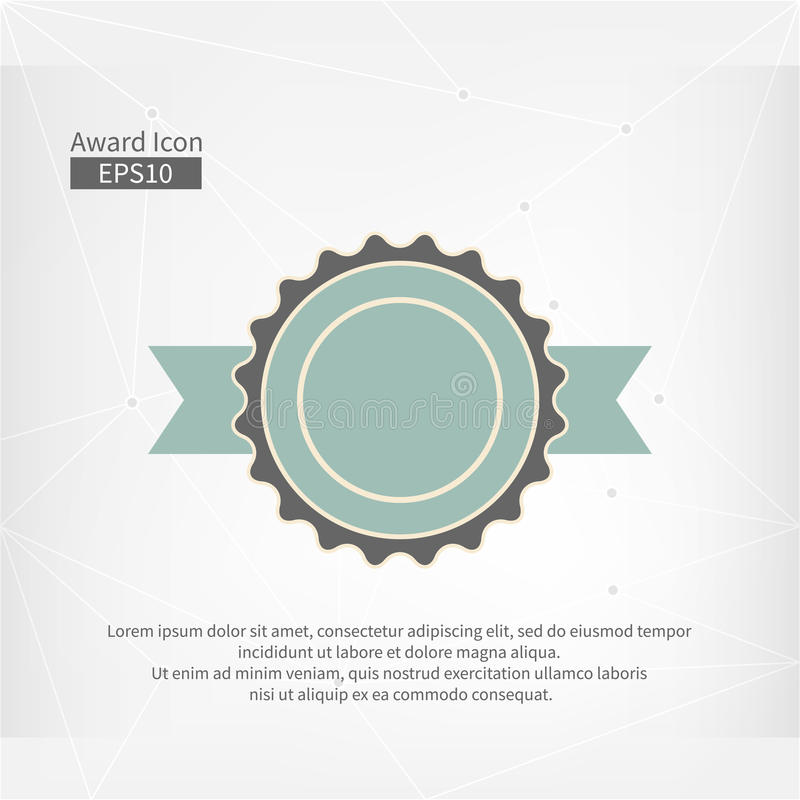 Icono del premio Muestra infographic del vector para el primer lugar Circunde el símbolo con la cinta en fondo gris abstracto del ilustración del vector