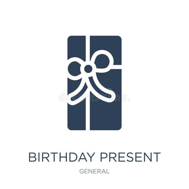 icono del presente de cumpleaños en estilo de moda del diseño icono del presente de cumpleaños aislado en el fondo blanco icono d libre illustration