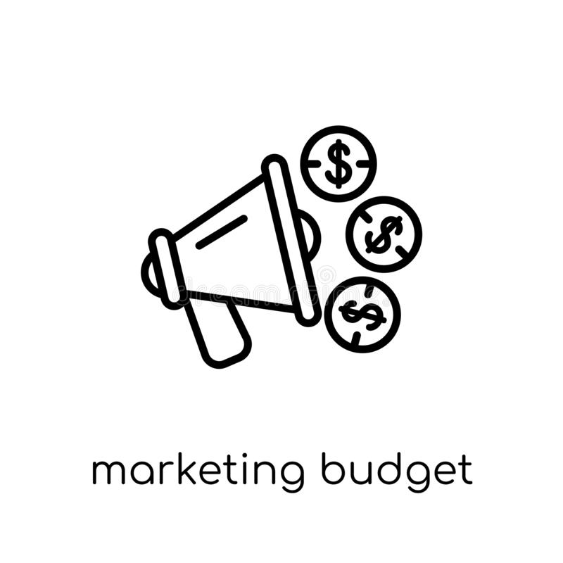 icono del presupuesto de marketing Marketin linear plano moderno de moda del vector stock de ilustración