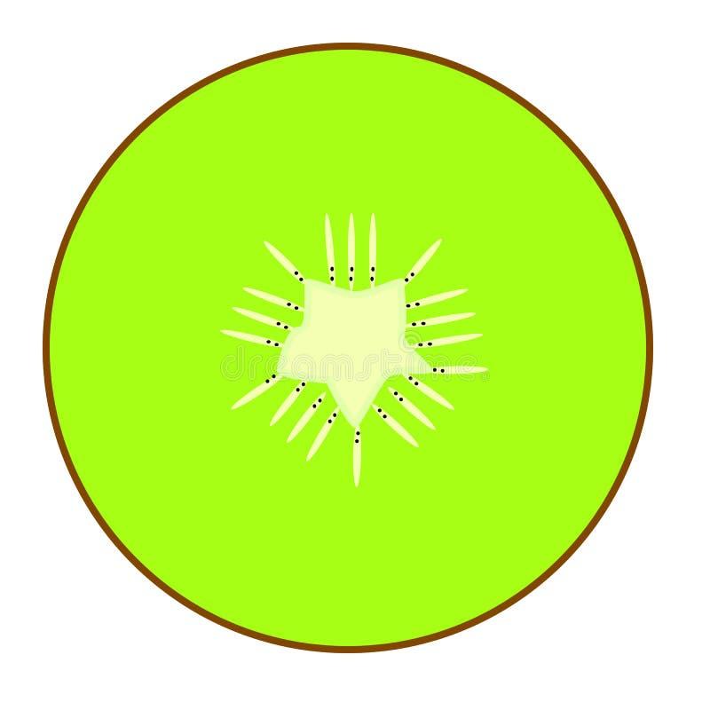 Icono del primer de la rebanada de la fruta de kiwi aislado en el fondo blanco stock de ilustración