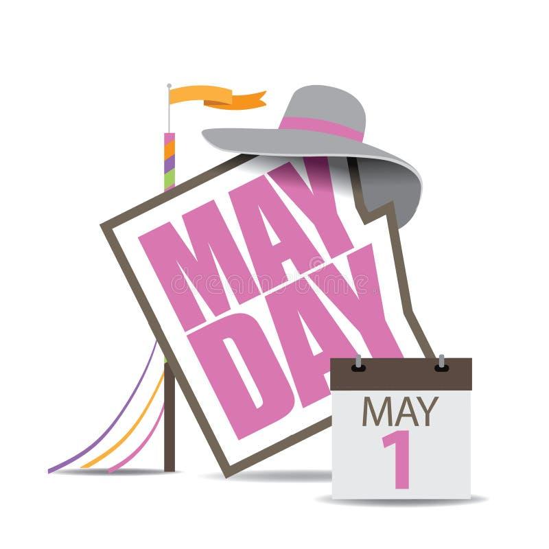 Icono del primero de mayo con el maypole y el calendario EPS 10 ilustración del vector