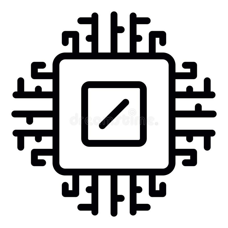 Icono del procesador del ordenador, estilo del esquema stock de ilustración
