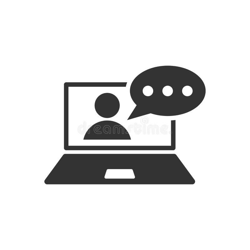 Icono del proceso del entrenamiento en línea en estilo plano Vect del seminario de Webinar stock de ilustración
