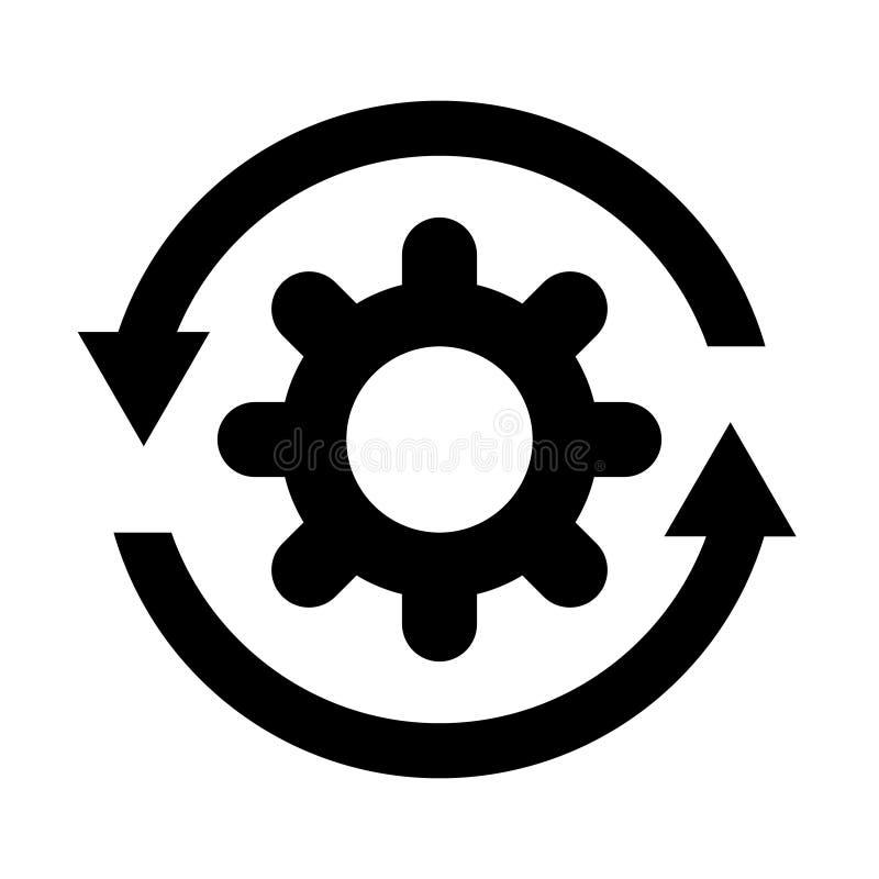 Icono del proceso del flujo de trabajo Rueda del diente del engranaje con el ejemplo del vector de las flechas Concepto del negoc stock de ilustración