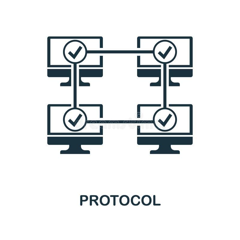 Icono del protocolo Diseño monocromático del estilo de la colección del icono del blockchain UI y UX Icono perfecto del protocolo stock de ilustración