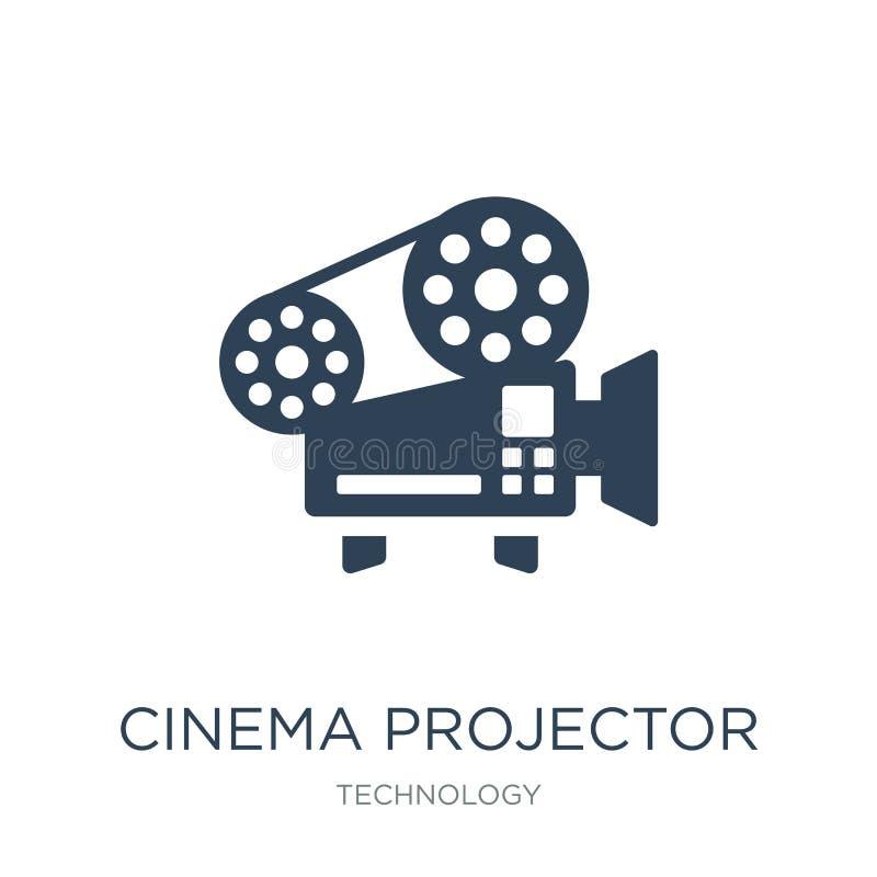 icono del proyector del cine en estilo de moda del diseño icono del proyector del cine aislado en el fondo blanco icono del vecto stock de ilustración