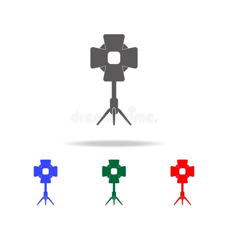 Icono del proyector del estudio Elementos del cine y de los iconos coloreados multi de la filmografía Icono superior del diseño g ilustración del vector