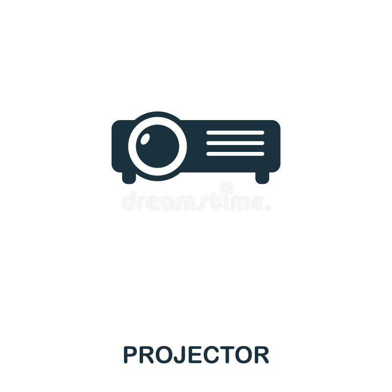 Icono del proyector Línea diseño del icono del estilo Ui Ejemplo del icono del proyector pictograma aislado en blanco Listo para  libre illustration