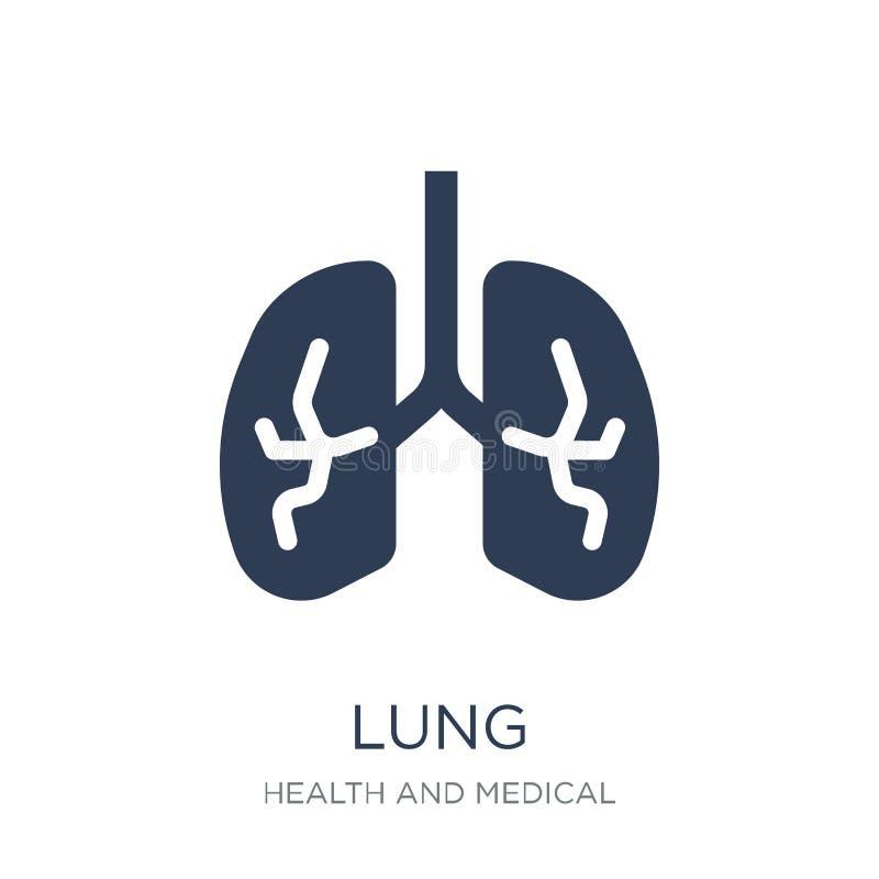 Icono del pulmón Icono plano de moda del pulmón del vector en el fondo blanco de stock de ilustración