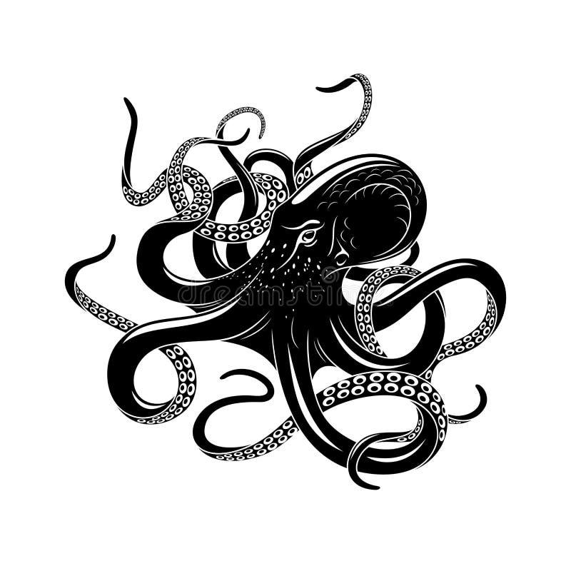 Icono del pulpo para el diseño del tatuaje del monstruo de mar stock de ilustración