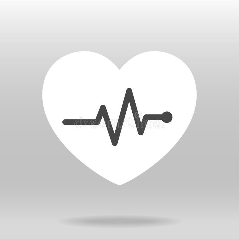 Icono del pulso del golpe de corazón para médico ilustración del vector