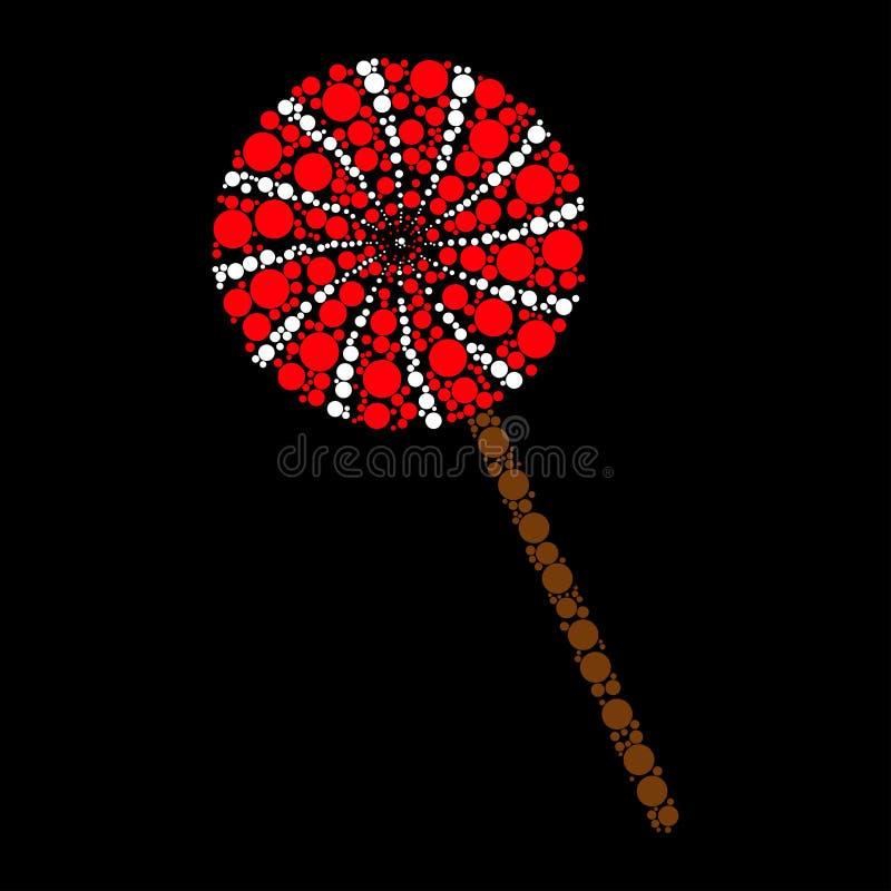 Icono del punto del palillo del caramelo aislado en fondo negro ilustración del vector