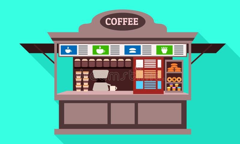 Icono del quiosco de la calle del café, estilo plano stock de ilustración