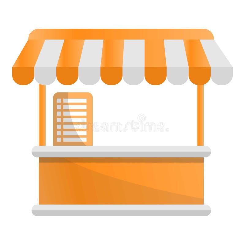 Icono del quiosco de la tienda de la comida, estilo de la historieta ilustración del vector