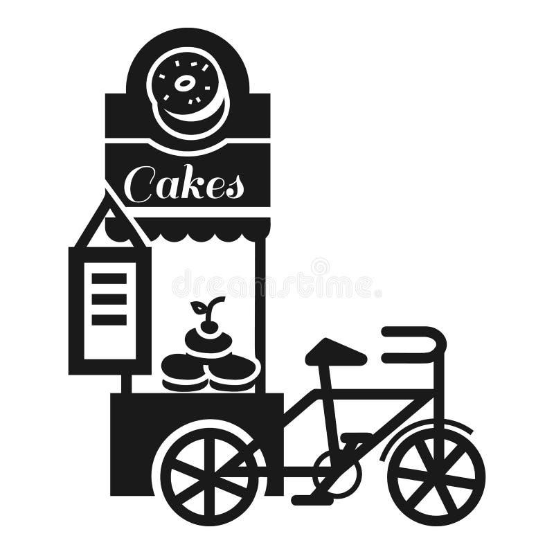 Icono del quiosco de la torta de la calle, estilo simple stock de ilustración
