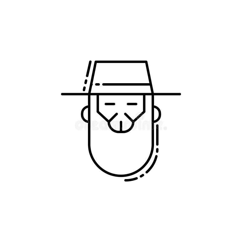 Icono del rabino Elemento del icono judío para los apps móviles del concepto y del web La línea fina icono del rabino se puede ut ilustración del vector