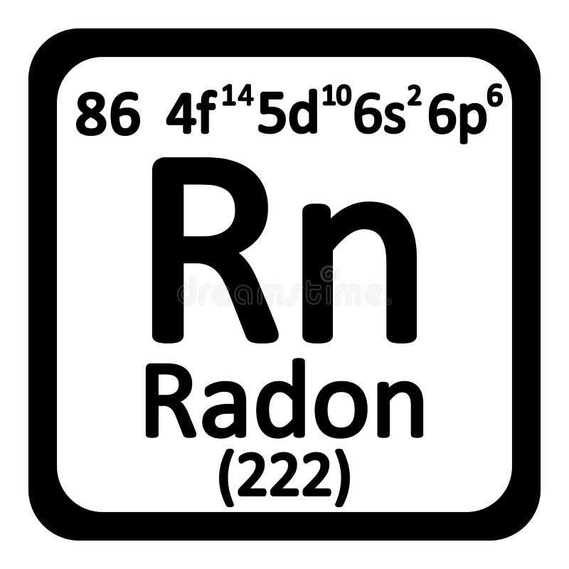 Icono del radón del elemento de tabla periódica ilustración del vector