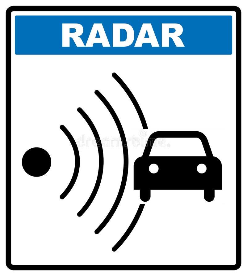 Icono del radar del camino de la velocidad Note el símbolo del tráfico en el círculo azul aislado en blanco con el texto ilustración del vector