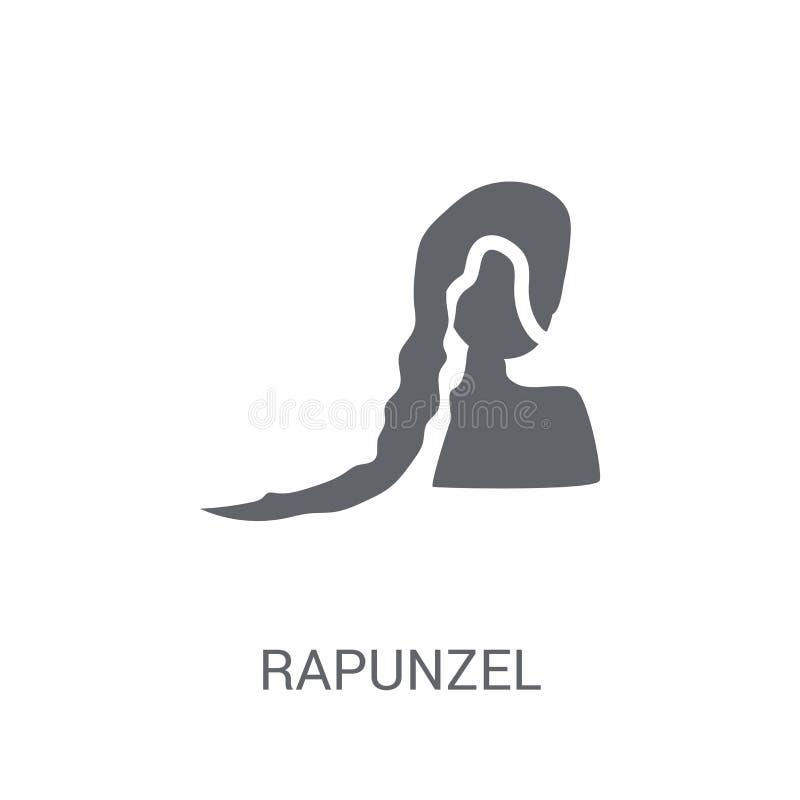 icono del rapunzel Concepto de moda del logotipo del rapunzel en el fondo blanco ilustración del vector