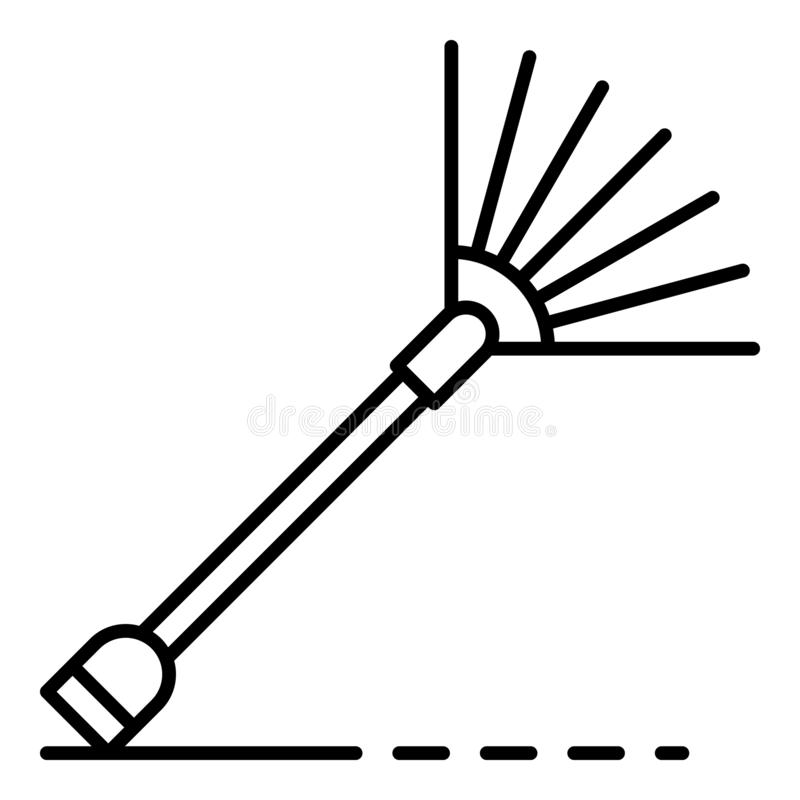 Icono del rastrillo de la hoja, estilo del esquema stock de ilustración