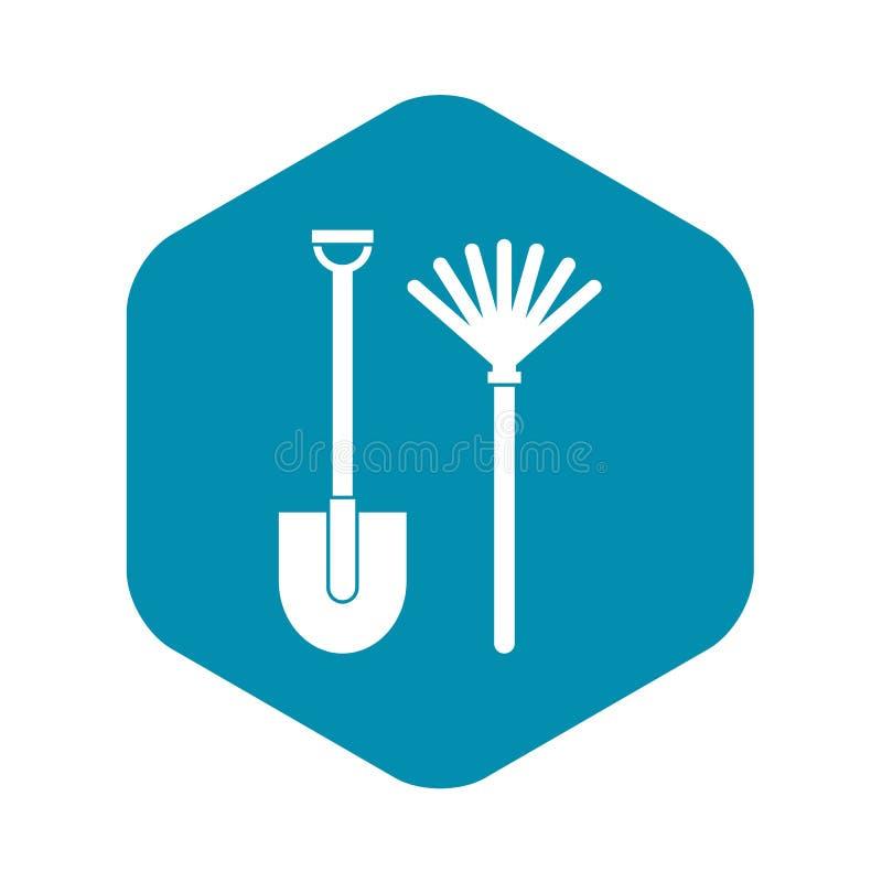 Icono del rastrillo y de la pala, estilo simple libre illustration