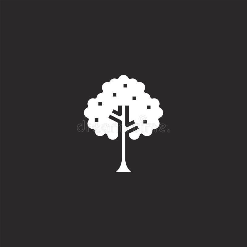 Icono del ?rbol Icono llenado del árbol para el diseño y el móvil, desarrollo de la página web del app icono del árbol de la cole ilustración del vector