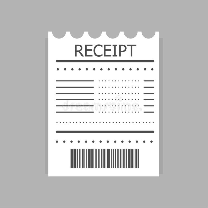 Icono del recibo Recibo de papel sobre el pago Icono de la factura ilustración del vector
