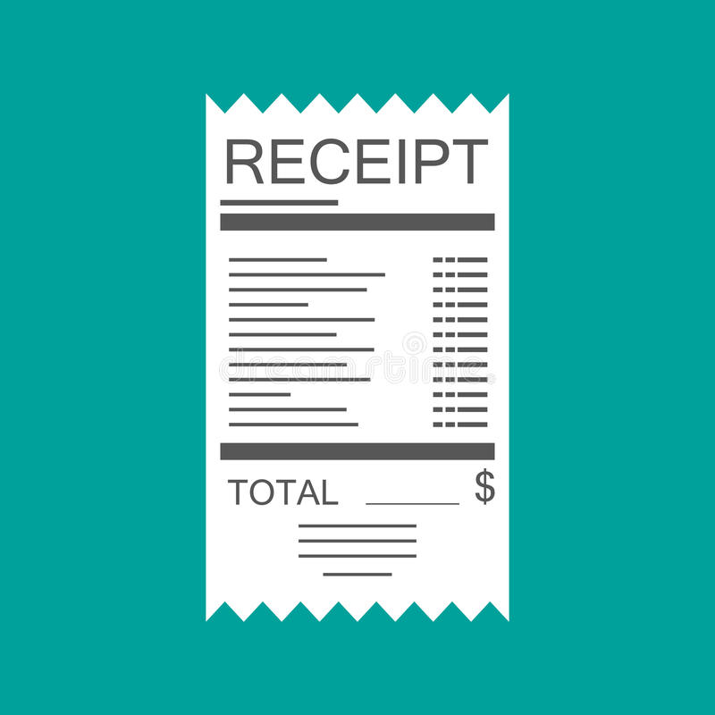 Icono del recibo Factura de papel Cuenta total stock de ilustración
