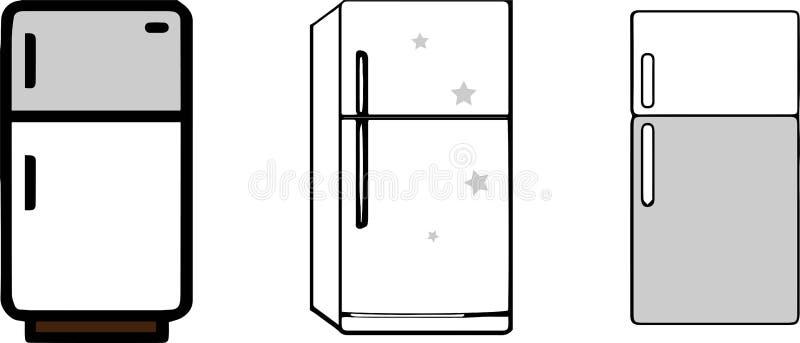 Icono del refrigerador en el fondo blanco ilustración del vector