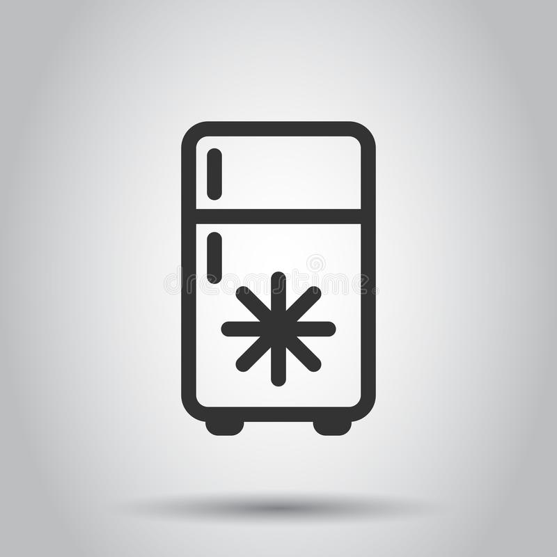 Icono del refrigerador del refrigerador en estilo plano Ejemplo del vector del envase del congelador en el fondo blanco Concepto  ilustración del vector