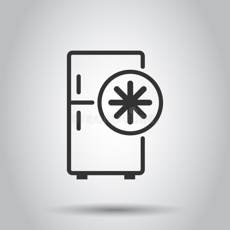Icono del refrigerador del refrigerador en estilo plano Ejemplo del vector del envase del congelador en el fondo blanco Concepto  libre illustration