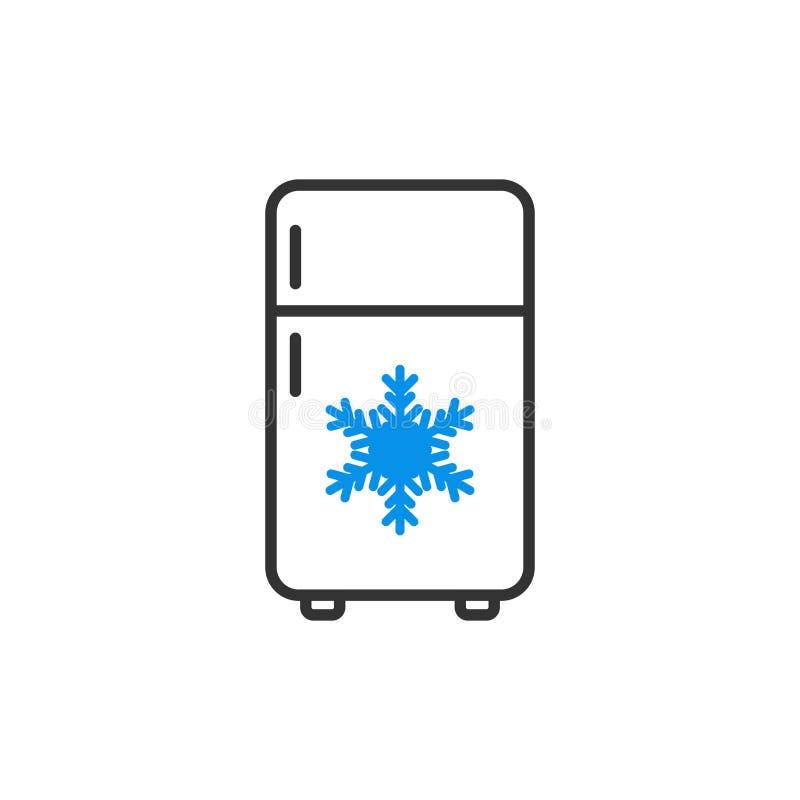 Icono del refrigerador del refrigerador en estilo plano Vector del envase del congelador libre illustration