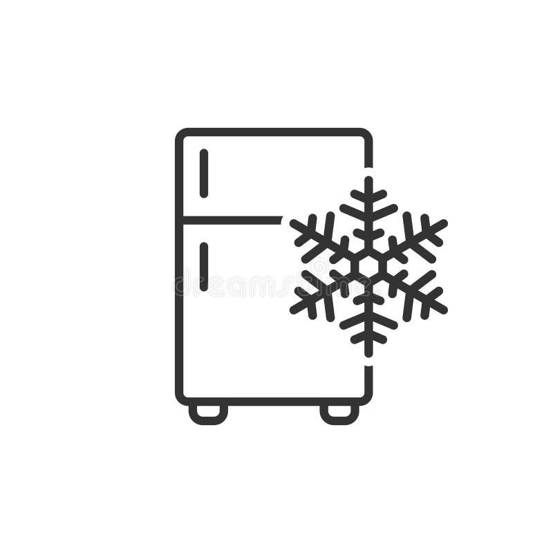 Icono del refrigerador del refrigerador en estilo plano Vector del envase del congelador ilustración del vector