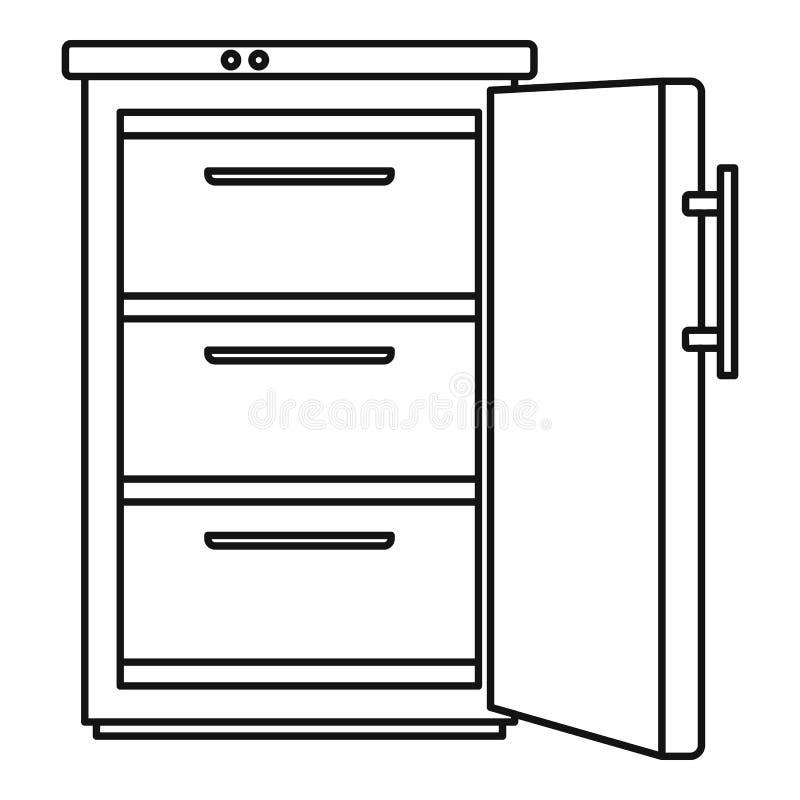 Icono del refrigerador, estilo del esquema stock de ilustración