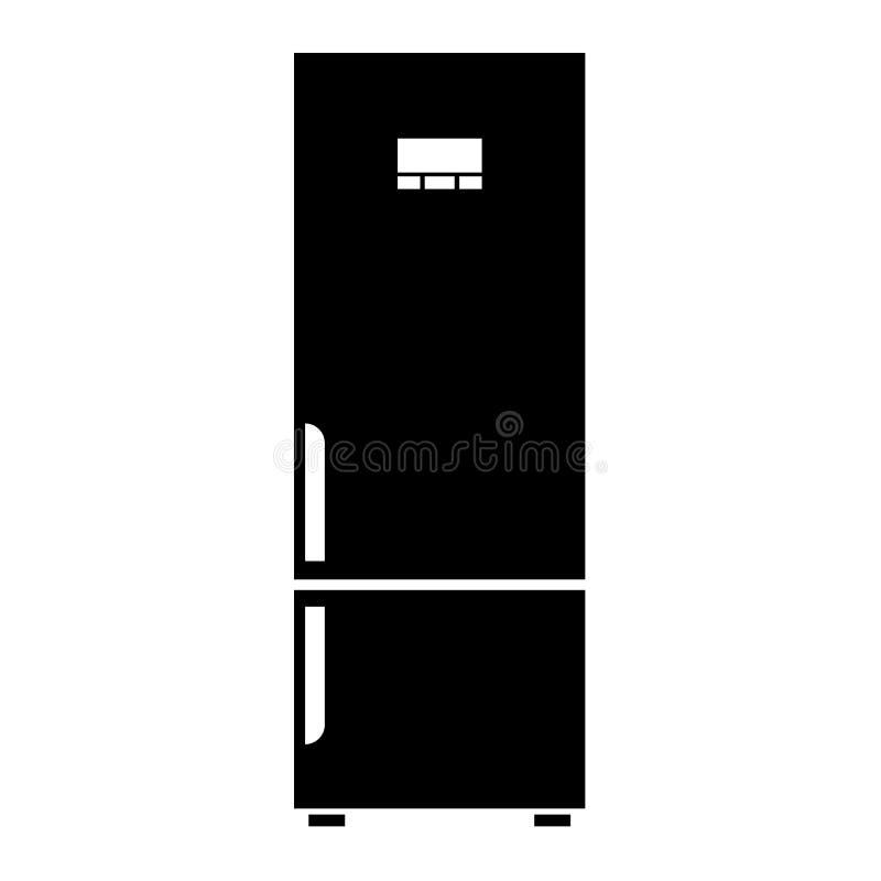 Icono del refrigerador o del refrigerador del vector Ejemplo negro del vector del color ilustración del vector
