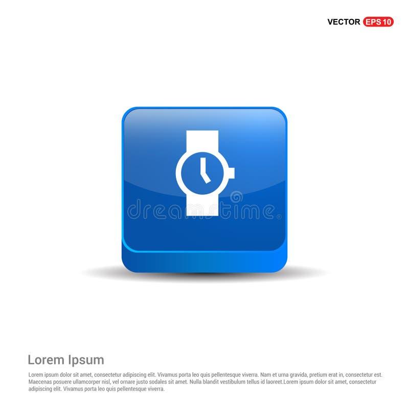 Icono del reloj - botón del azul 3d stock de ilustración