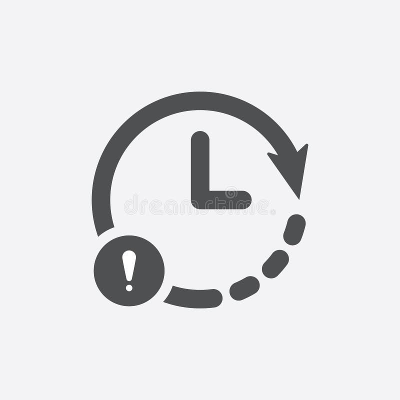 Icono del reloj con la marca de exclamación Registre el icono y la alarma, error, alarma, símbolo del peligro ilustración del vector