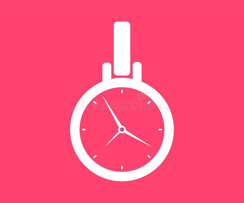 Icono del reloj de bolsillo Ejemplo del vector en estilo plano libre illustration