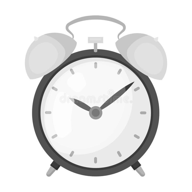 Icono del reloj de la cabecera en estilo monocromático aislado en el fondo blanco Ejemplo del vector de la acción del símbolo del imágenes de archivo libres de regalías