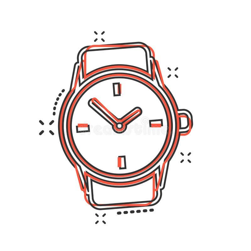 Icono del reloj de la historieta del vector en estilo cómico Illustratio de la muestra del reloj ilustración del vector