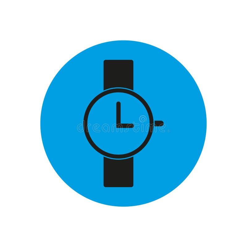 Icono del reloj en círculo azul stock de ilustración