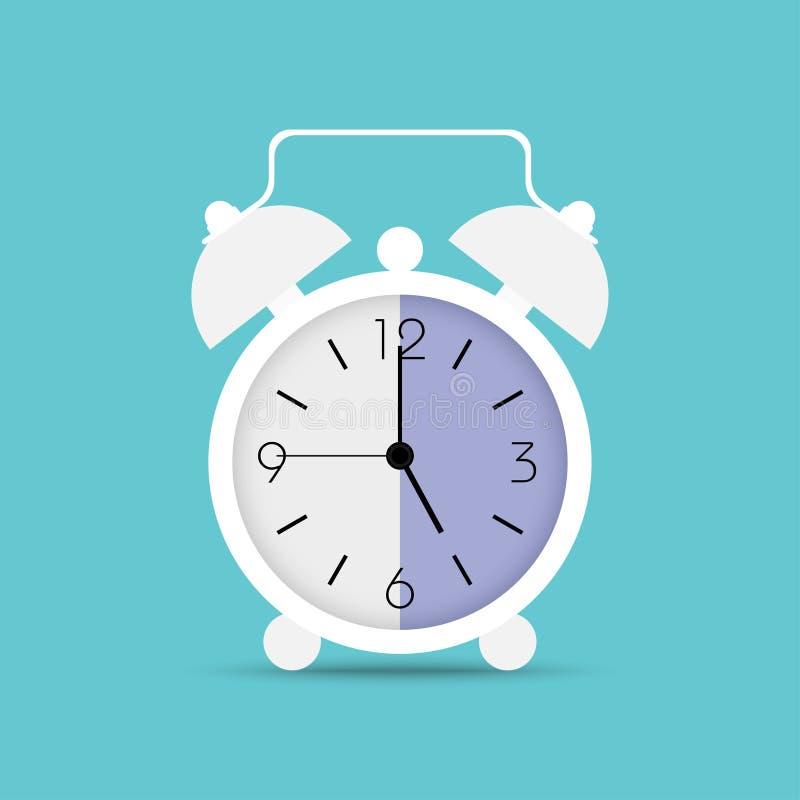 Icono del reloj en estilo plano de moda El despertador, despierta tiempo Reloj blanco con la sombra en fondo azul ilustración del vector
