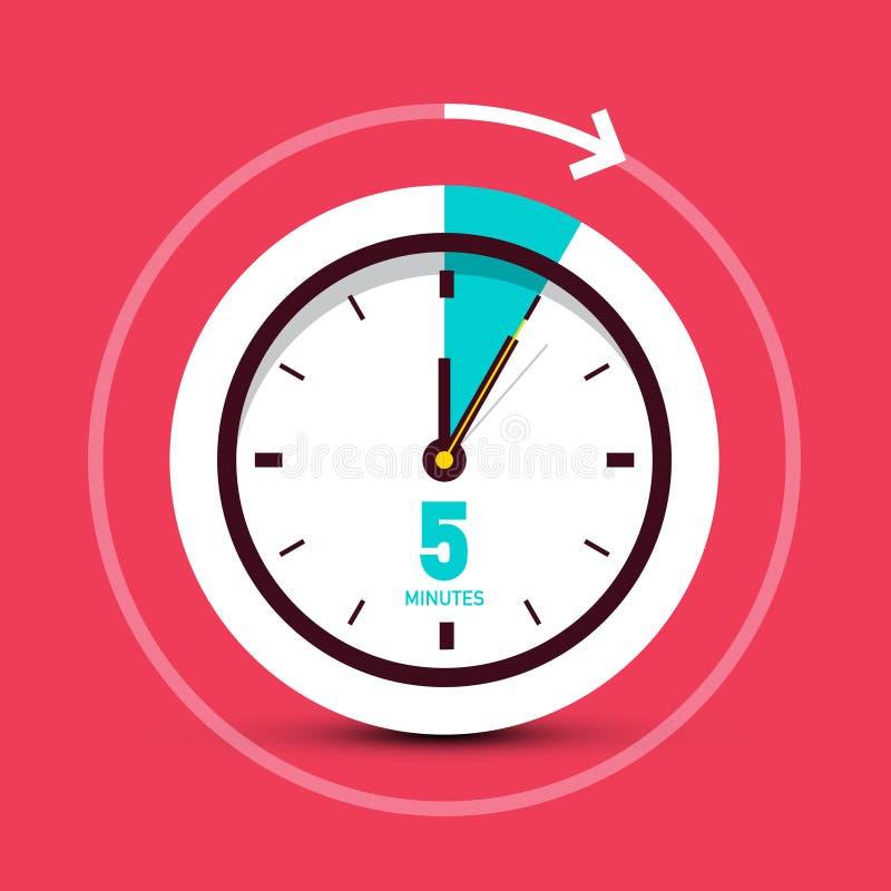 Icono del reloj del vector de 5 cinco minutos ilustración del vector