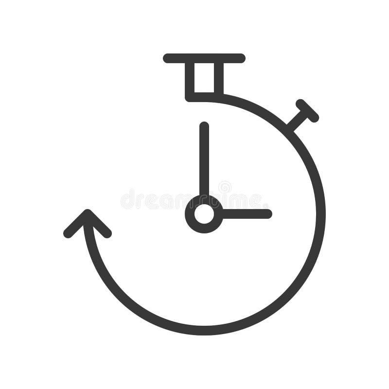 Icono del reloj y de la flecha, stro editable del diseño perfecto del esquema del pixel stock de ilustración