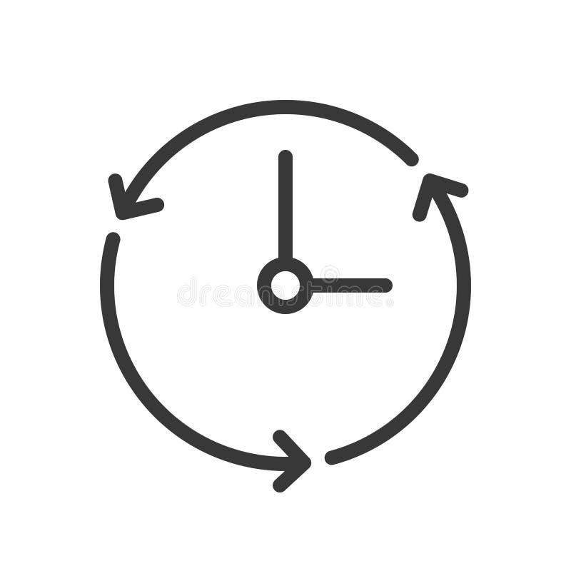 Icono del reloj y de la flecha, stro editable del diseño perfecto del esquema del pixel libre illustration
