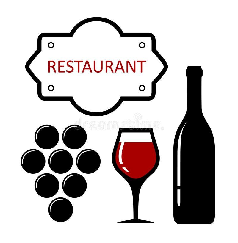 Icono del restaurante con las uvas y la copa de vino ilustración del vector