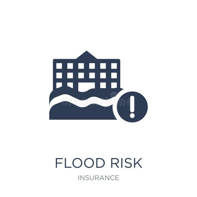 Icono del riesgo de la inundación Icono plano de moda del riesgo de la inundación del vector en el CCB blanco ilustración del vector