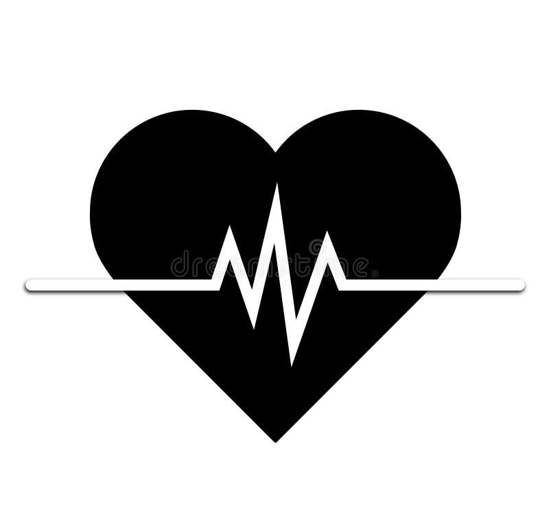 Icono del ritmo cardíaco - monitor de la salud Ritmo cardíaco rojo Icono del vector de la presión arterial ilustración del vector