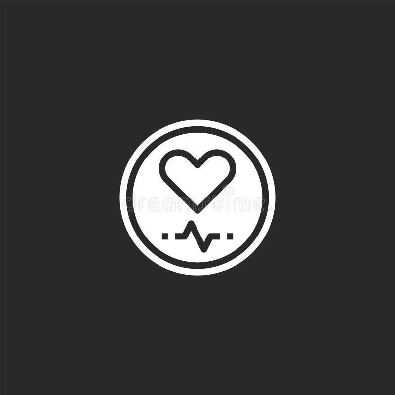 Icono del ritmo card?aco Icono llenado del ritmo cardíaco para el diseño y el móvil, desarrollo de la página web del app icono de stock de ilustración
